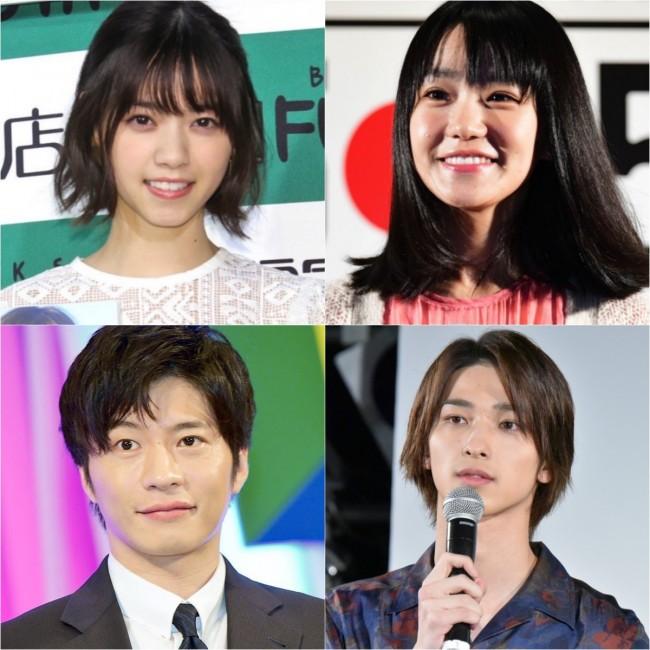 (左上から時計回りに)西野七瀬、奈緒、横浜流星、田中圭