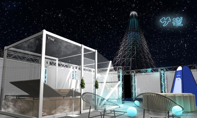 東京スカイツリーを見上げるサウナが期間限定でオープン