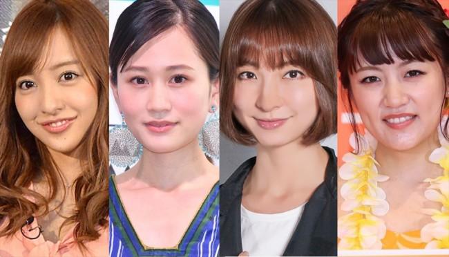 (左から)板野友美、前田敦子、篠田麻里子、高橋みなみ